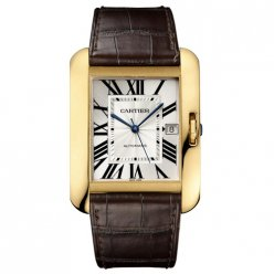 AAA Cartier Tank Anglaise watch for men W5310032 18K yellow gold brown leather strap
