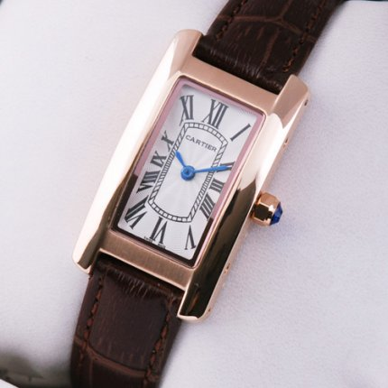 AAA Cartier Tank Americaine womens watch W2607456 18K pink gold brown leather strap