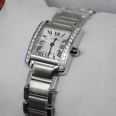 AAA Cartier Tank Francaise 18K white gold watch with diamonds for women
