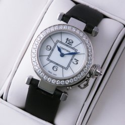 AAA Pasha de Cartier diamond ladies watch steel black satin strap