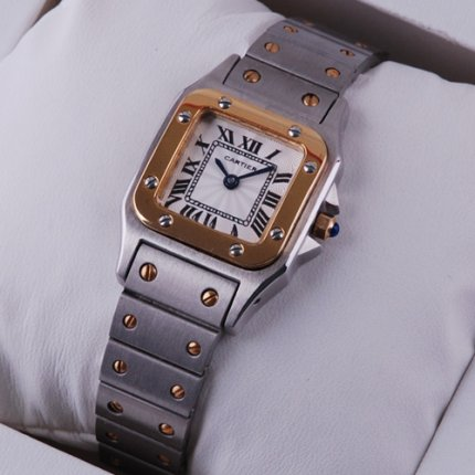 AAA Cartier Santos Galbee 18K yellow gold and steel small watch for women