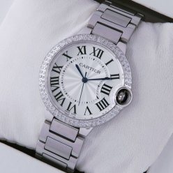 AAA Ballon Bleu de Cartier medium steel watch with diamonds on bezel