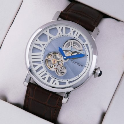 AAA Rotonde de Cartier tourbillon mens watch replica steel blue-white dial