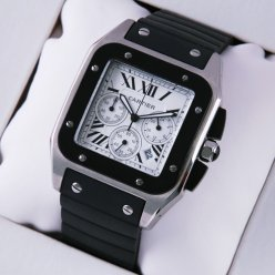 AAA Cartier Santos 100 Chronograph mens watch stainless steel black rubber strap