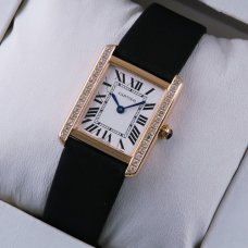 AAA Cartier Tank Solo swiss diamond watch replica 18K pink gold black stain strap