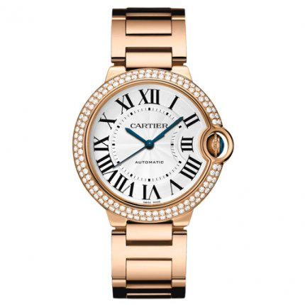 AAA Ballon Bleu de Cartier automatic watch 18kt pink gold diamonds bezel