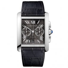 AAA Cartier Tank MC Chronograph mens watch W5330008 steel gray dial