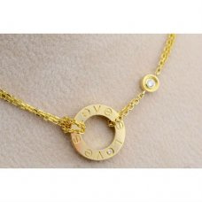 AAA Cartier Love yellow gold necklace B7219500 with two diamonds