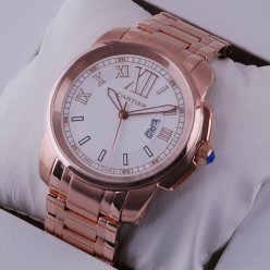 AAA Calibre de Cartier quartz pink gold watch for men white dial