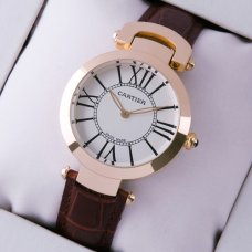 AAA Ronde Solo de Cartier watch for women pink gold silver dial brown leather strap