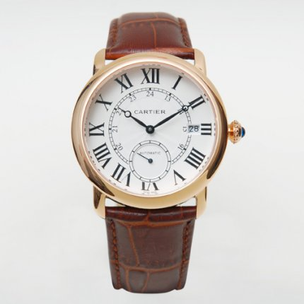 AAA Cartier Ronde Louis automatic watch for men 18K pink gold brown leather strap