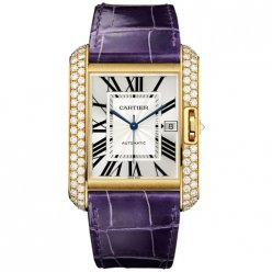 AAA Cartier Tank Anglaise diamond watch WT100022 18K yellow gold blue leather strap