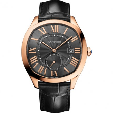AAA Drive de Cartier watches pink gold gray dial black leather strap WGNM0004