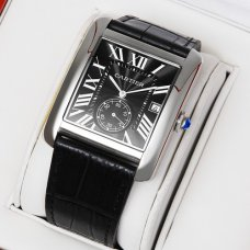 AAA Cartier Tank MC swiss quartz watch for men steel black dial