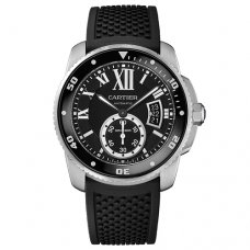 AAA Calibre de Cartier Diver watch W7100056 steel black rubber strap