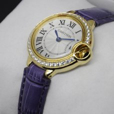 AAA Ballon Bleu de Cartier quartz watch diamond yellow gold purple leather strap