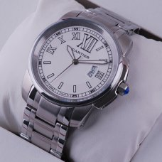 AAA Calibre de Cartier quartz watch for men stainless steel white dial