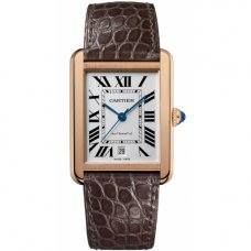 AAA Cartier Tank Solo mens watch W5200026 18K yellow gold brown leather strap