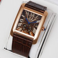 AAA Cartier Tank MC swiss quartz watch for men 18K pink gold brown dial