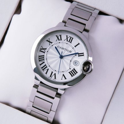 AAA Ballon Bleu de Cartier quartz watch replica date stainless steel
