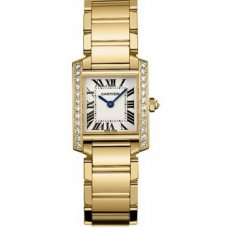 AAA Cartier Tank Francaise diamond watch for women WE1001R8 yellow gold