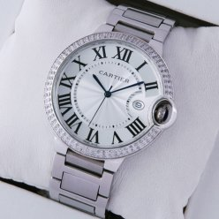 AAA Ballon Bleu de Cartier large diamond watch silver dial stainless steel