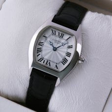 AAA Cartier Tortue small ladies watch stainless steel black leather strap