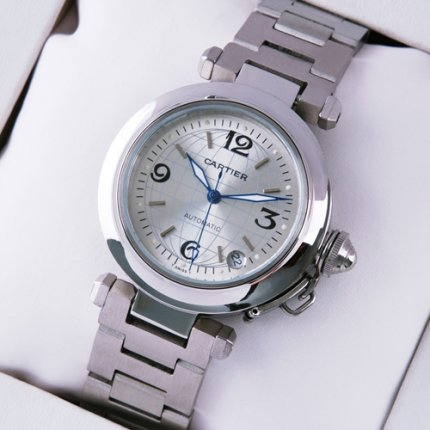 AAA Cartier Pasha C imitation midsize watch stainless steel silver dial