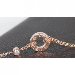 AAA Cartier Love pink gold necklace with two diamonds