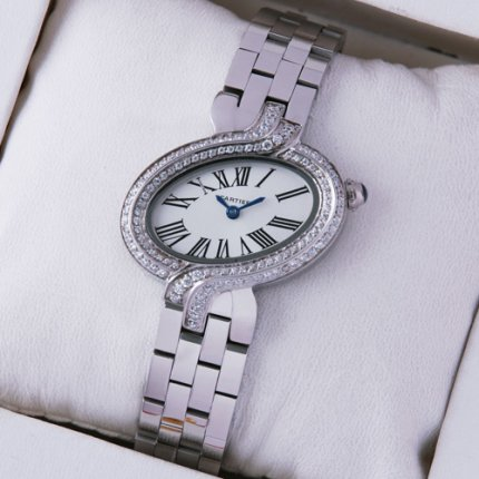 AAA Delices de Cartier steel womens watch with two rows of diamonds on bezel