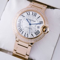 AAA Ballon Bleu de Cartier WE9008Z3 large diamond watch 18K pink gold