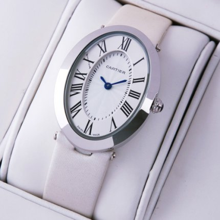 AAA Cartier Baignoire steel womens watch white satin strap