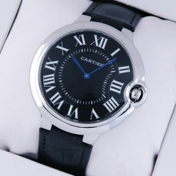 AAA Ballon Bleu de Cartier extra large watch black dial steel black leather strap
