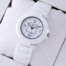 AAA Pasha de Cartier white ceramic womens watch steel white dial