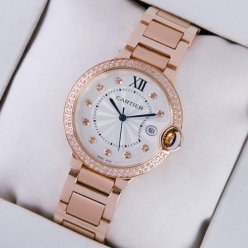 AAA Ballon Bleu de Cartier swiss quartz diamond watch date 18kt pink gold