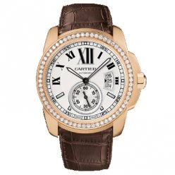 AAA Calibre de Cartier automatic diamond watch WF100005 18K pink gold