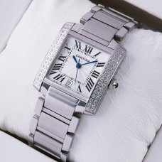 AAA Cartier Tank Francaise diamond mens watch stainless steel