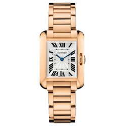 AAA Cartier Tank Anglaise replica watch for women W5310013 18K pink gold