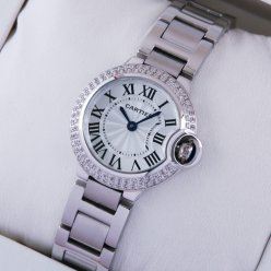 AAA Ballon Bleu de Cartier quartz steel watch with two rows diamonds bezel