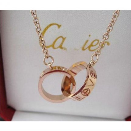 AAA Cartier Love pink gold chain necklace B7212300