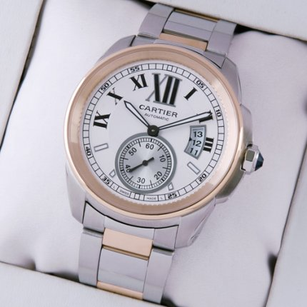 AAA Calibre de Cartier automatic mens watch W7100036 two-tone pink gold and steel