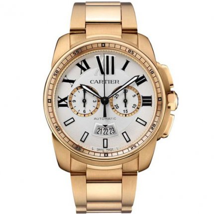 AAA Calibre de Cartier Chronograph watch W7100047 18K pink gold