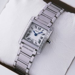 AAA Cartier Tank Francaise diamond watch for women WE1002S3 stainless steel