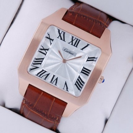 AAA Cartier Santos Dumont watch replica 18K pink gold brown leather strap