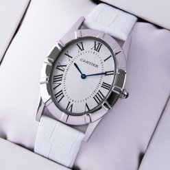 AAA Cartier Baignoire steel large watch white leather strap