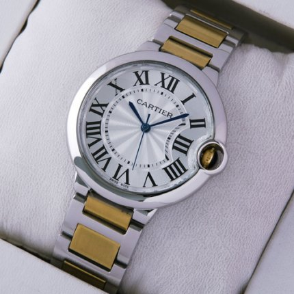 AAA Ballon Bleu de Cartier watch two-tone 18kt yellow gold and steel