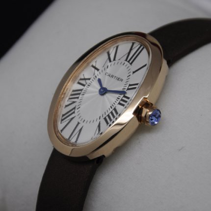 AAA Cartier Baignoire watch for women 18K pink gold coffee satin strap