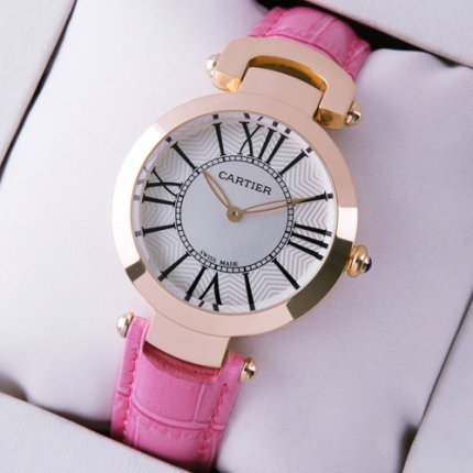 AAA Ronde Solo de Cartier watch for women pink gold silver dial pink leather strap