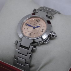 AAA Cartier Pasha C small ladies watch stainless steel pink salmon dial