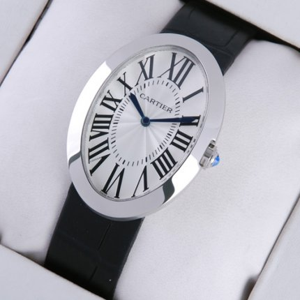 AAA Cartier Baignoire steel extra large mens watch black leather strap